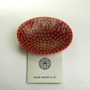 ベネチアングラス 皿 (小・楕円) オーバル ミルフィオーリ (赤黒) イタリア製 モレッティ社|vivace-yokohama