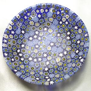 ベネチアングラス 皿 (中) ミルフィオーリ (紺系) イタリア製 モレッティ社|vivace-yokohama