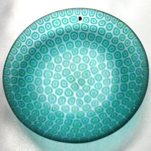 ベネチアングラス 皿 (中) ミルフィオーリ (透明・青緑) イタリア製 モレッティ社|vivace-yokohama