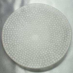 ベネチアングラス 皿 (大) ミルフィオーリ (透明・白) イタリア製 モレッティ社|vivace-yokohama