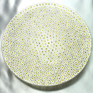ベネチアングラス 皿 (大) ミルフィオーリ (白黄) イタリア製 モレッティ社|vivace-yokohama