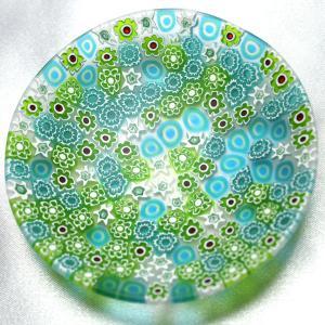 ベネチアングラス 皿 (小) ミルフィオーリ (水色・緑・白) イタリア製 モレッティ社|vivace-yokohama