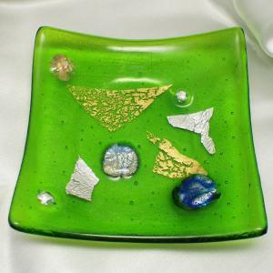皿 イタリア製雑貨 ミルフィオーリベネチアングラス モザイコ皿・プレート 角大 緑|vivace-yokohama