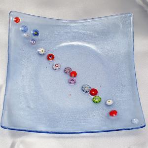 イタリア製 モザイコ 角皿・プレート ミルフィオーリ ベネチアングラス 角小 水色G|vivace-yokohama