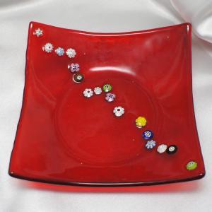 イタリア製 モザイコ 角皿・プレート ミルフィオーリ ベネチアングラス 角小 赤レッドD|vivace-yokohama