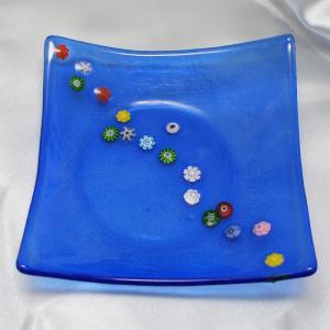 イタリア製 モザイコ 角皿・プレート ミルフィオーリ ベネチアングラス 角小 青ブルーB|vivace-yokohama