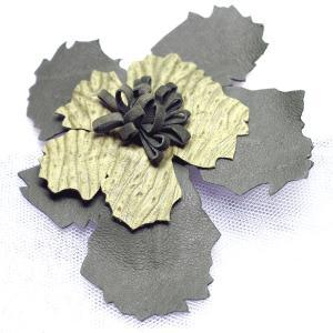 コサージュ スペイン製輸入アクセサリー 皮 グリーン|vivace-yokohama