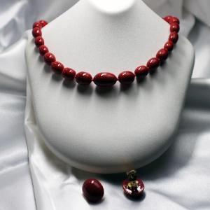 イタリア製 ベネチアングラスビーズ 赤おバール ネックレスとイヤリングのセット|vivace-yokohama