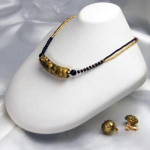 イタリア製 ベネチアングラスビーズ ゴールド入りチューブネックレスとイヤリングのセット|vivace-yokohama