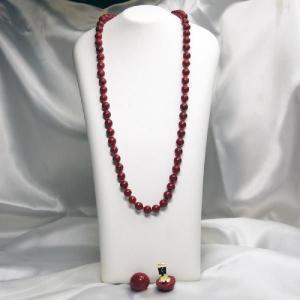 イタリア製 ベネチアングラスビーズ 60cmロングネックレスとイヤリングのセット 赤|vivace-yokohama