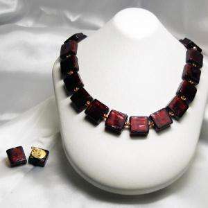 イタリア製マズッコ社ベネチアングラスビーズ 24金箔巻き赤 ネックレスとイヤリングのセット|vivace-yokohama