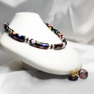 イタリア製アクセサリー ベネチアングラスのネックレスとイヤリングのセット クラシックモザイコ|vivace-yokohama