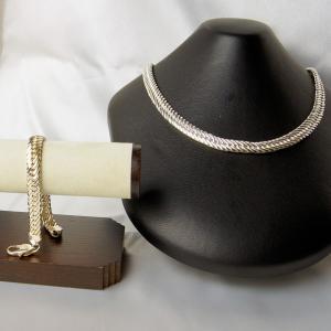 イタリア製 シルバー・純銀 ダブル喜平ネックレスとブレスレットのセット|vivace-yokohama