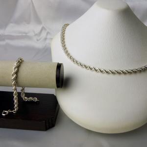 スペイン製 シルバー・純銀 フレンチロープチェーン ネックレスとブレスレットのセット2|vivace-yokohama