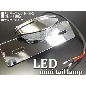 汎用 バイク ブレーキ連動LEDミニテールJ ナンバーブラケット付 スリムアイLEDテールランプ クリアレンズ|vivaenterplise