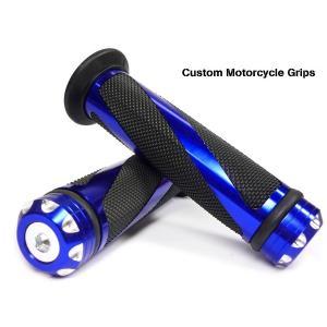 バイク用 アルミグリップエンド アルミカスタムグリップ バイクグリップ A青 あ|vivaenterplise