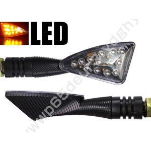 バイク用 LED ウィンカー 三角 クリアレンズ 2個組 X-9|vivaenterplise