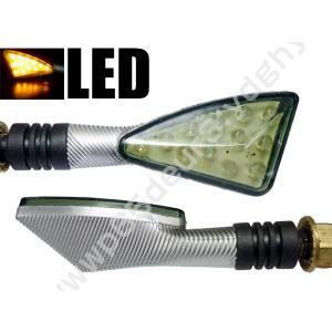 バイク汎用 LEDウインカー 汎用LEDウィンカー シルバー 三角クリアレンズ 2個組 X-10  あ|vivaenterplise