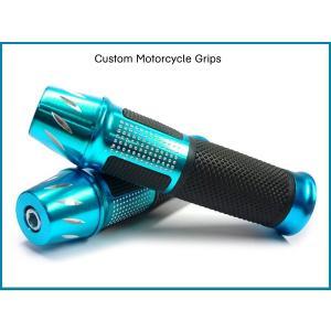 バイク汎用 高級アルミグリップ&バーエンド b-青 ハンドル 22.2mm  あ|vivaenterplise