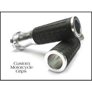 バイク汎用 高級カスタムアルミグリップ/c-銀  22.2mm ハンドル車用|vivaenterplise