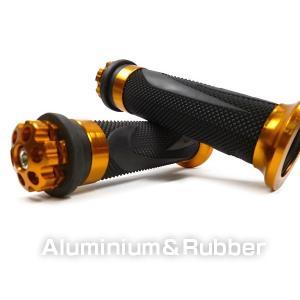 バイク汎用 ラバーグリップ&アルミバーエンド/E-金  22.2mm ハンドル車用|vivaenterplise