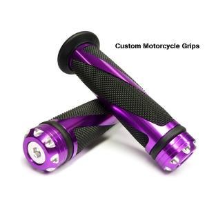 バイク グリップ 高級グリップエンド アルミ カスタムグリップA 紫|vivaenterplise