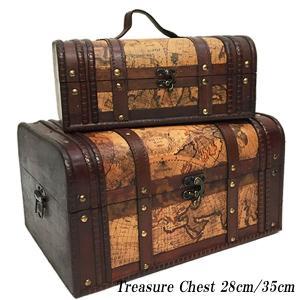木製  海賊の宝箱 2個セット  大・小セット アンティークな宝箱|vivaenterplise