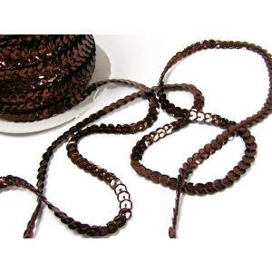 スパンコールリボン/スパンコールテープ/1巻 幅6mm×長さ80m チョコレート/09 ☆|vivaenterplise