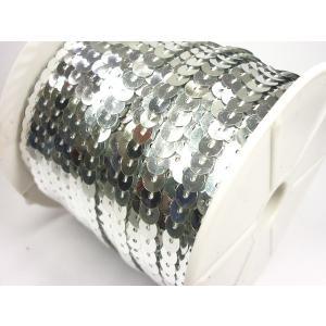スパンコールリボン/スパンコールテープ/1巻 幅6mm×長さ80m シルバー/21 ☆|vivaenterplise