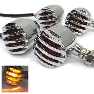 バイク ウインカー ブレット 4個セット バードゲージ 砲弾型 12V   (ブラックX61、シルバーX62)|vivaenterplise