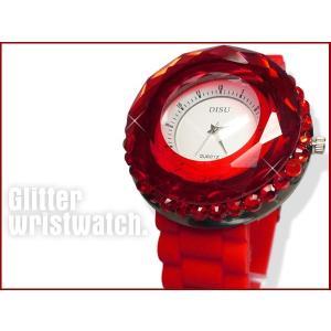 インパクト大★可愛くてオシャレ★レディース キラキラ腕時計 レッド ☆|vivaenterplise