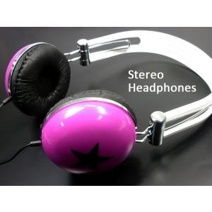 ファッション・コーデのポイントに♪■iPhone・スマホに♪POPな ヘッドフォン 【パープル/スター】 ステレオヘッドホン|vivaenterplise