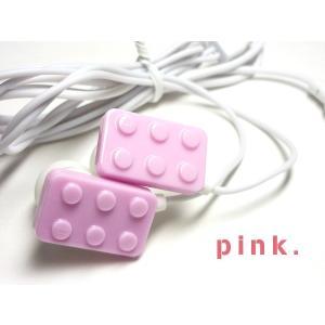 POPで可愛い♪ おもちゃみたいなブロック型イヤホン【ピンク 】 iPhone/スマホ/パソコンに☆ vivaenterplise