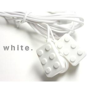 POPで可愛い♪ おもちゃみたいなブロック型イヤホン【ホワイト 】 iPhone/スマホ/パソコンに☆ vivaenterplise
