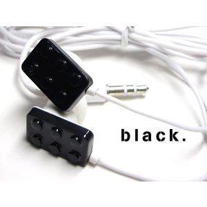 POPで可愛い♪ おもちゃみたいなブロック型イヤホン【ブラック】 iPhone/スマホ/パソコンに☆ vivaenterplise