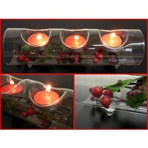 ガラスの3連 キャンドルスタンド クリスマス 赤いキャンドル3個セット|vivaenterplise