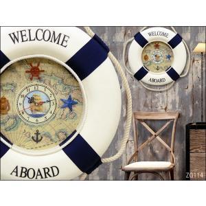マリン インテリア 壁掛け時計 48cm 浮き輪|vivaenterplise
