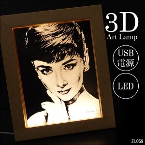 3Dアートスタンド オードリー・ヘプバーン アートフレーム テーブルランプ USB電源【12302】|vivaenterplise