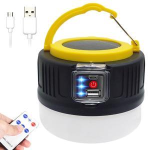 LEDソーラーランタン(Q) リモコン USBコード付 テントライト 長時間点灯 防災 スマホ充電可...