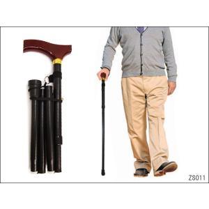 杖 折りたたみ 伸縮杖 ブラック グリップ木目調 T字 アルミ ステッキ11|vivaenterplise