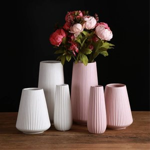 Yuumingフラワーベース 花器 花瓶 陶器 つや消し面 北欧モダンシンプルデザイン (大, ピンク) vivaldistr