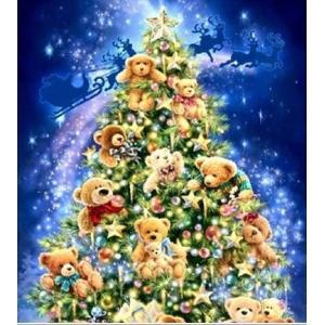クロスステッチ刺繍キット DMC糸 布地に図柄印刷 クリスマスツリーベアー|vivaldistr