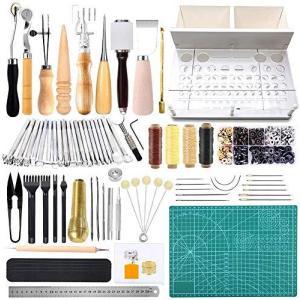 レザークラフト 工具 道具セット レザーツール 革細工 工具セット 皮革工具 手縫い レザー 縫製キット DIY 手作り|vivaldistr