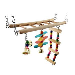 ワズチヨ 小動物 ケージ カラフル おもちゃ アクセサリ 玩具 ハムスター デグー リス ペット 木製 ステージ 吊り橋 はしご (?4点 vivaldistr