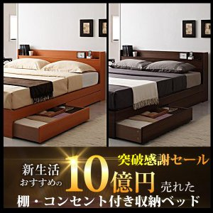 コンセント付き収納ベッド Ever エヴァー ベッドフレームのみ シングル vivamaria