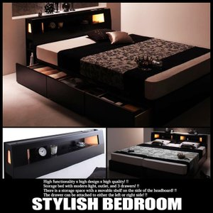 ベッド ダブル 収納付き ポケットハードマットレス付き|vivamaria