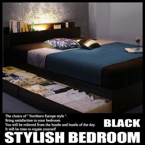 モダンライト・コンセント付き収納ベッド Pesante ペザンテ スタンダードボンネルコイルマットレス付き シングルの写真