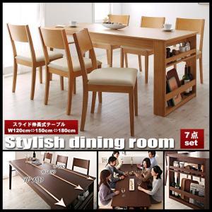 ダイニングテーブルセット 7点セット 伸縮 収納ラック付き ダイニングセット Dream.3 vivamaria