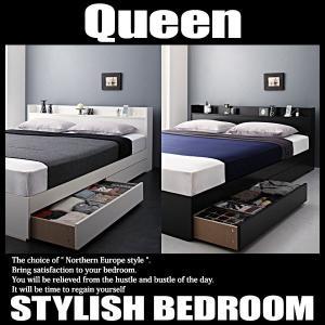 ベッド クイーン マットレス付き セット 収納 コンセント スタンダードボンネルコイルマットレス付きの写真