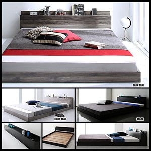 ベッド ダブル マットレス付き セット ローベッド 宮付き コンセント付き プレミアムボンネルコイルマットレス付きの写真